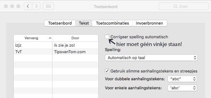 Autocorrectie uitschakelen - OS X Mac